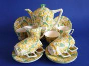 Lovely Crown Ducal 'Primula' Chintz Victory Coffee Set c1930